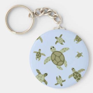 Cute Sea Turtles Basic Round Button Key Ring