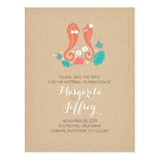 Cute seahorse couple beach save the date postcards