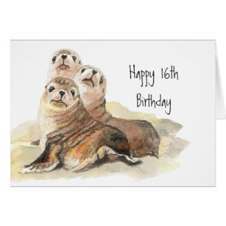 Cute Seals 16th Birthday Watercolor Animals Greeting Card