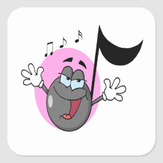 cute singing music musical note cartoon character square sticker