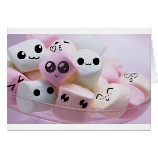 cute smiley face marshmallows greeting card