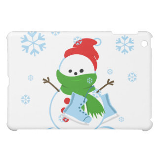Cute Snowman with Ice Skates Cover For The iPad Mini