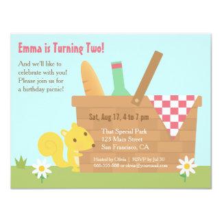 Cute Squirrel Park Picnic Kids Birthday Party 11 Cm X 14 Cm Invitation Card