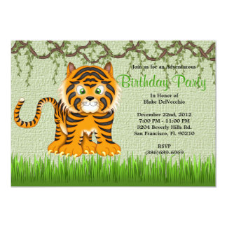 CUTE Sweet Baby Tiger Vines Jungle Birthday 13 Cm X 18 Cm Invitation Card