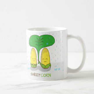 Cute Sweet Corn Couple Romantic Love In Rain Basic White Mug