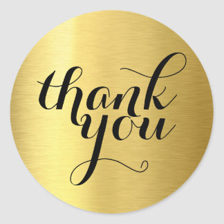 CUTE THANK YOU modern simple shiny gold foil Round Sticker