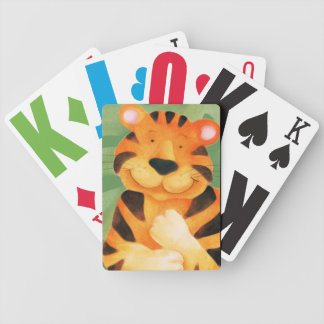 Cute tiger kids playing cards