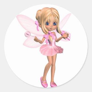 Cute Toon Ballerina Fairy in Pink - standing Round Sticker