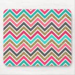 Cute trendy chevron faux glitter zigzag pattern mouse pad