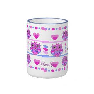 Cute trendy mug with Owls and Name