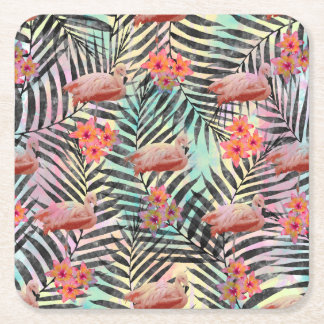 Cute trendy tropical flamingos floral paint square paper coaster