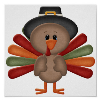 Cute Turkey Thanksgiving (customizable) Poster