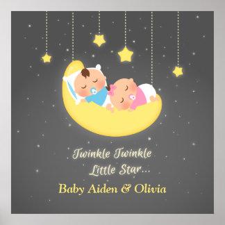 Cute Twinkle Twinkle Little Star Twins Poster