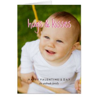 Cute Valentines Day Photo Hugs Kisses Custom Color Greeting Card