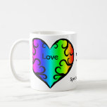 Cute victorian rainbow heart anniversary basic white mug