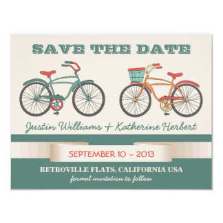 Cute Vintage Bicycles Retro Style Save the Date 11 Cm X 14 Cm Invitation Card