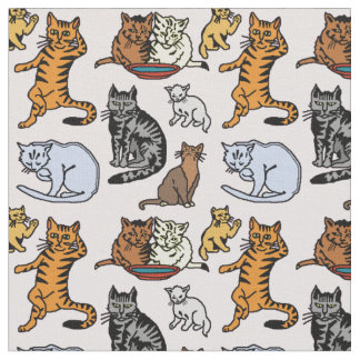 Cute Vintage Cat Drawing Pattern Fabric