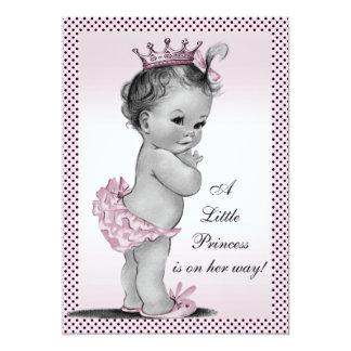Cute Vintage Princess Baby Shower 13 Cm X 18 Cm Invitation Card
