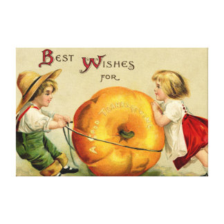 Cute Vintage Thanksgiving Greeting Stretched Canvas Prints