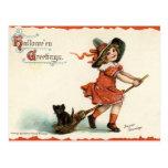 Cute Vintage Witch on Broom Halloween Postcard