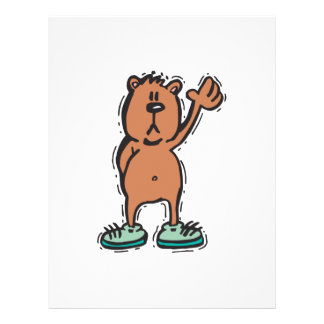 cute waving bear in sneakers 21.5 cm x 28 cm flyer