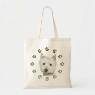 Cute Westie Dog Art and Paws Budget Tote Bag