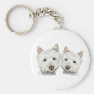Cute Westie Dogs Basic Round Button Key Ring