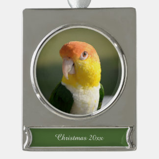 Cute White Bellied Caique Parrot Silver Plated Banner Ornament