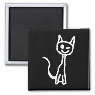 Cute White Cat. Square Magnet