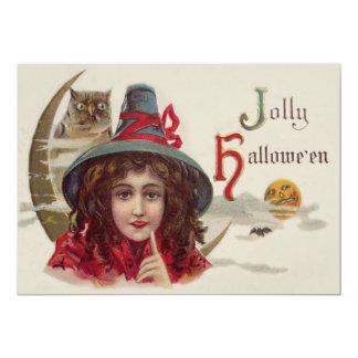 Cute Witch Owl Crescent Moon Pumpkin 13 Cm X 18 Cm Invitation Card