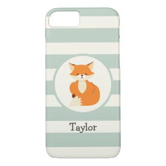 Cute Woodland Fox on Sage Green Stripes iPhone 7 Case