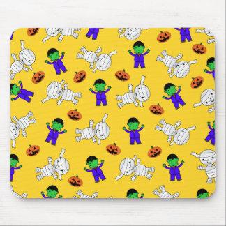 Cute yellow Frankenstein mummy pumpkins Mouse Pad
