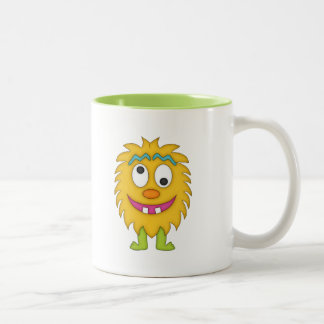 Cute Yellow Monster+Personalize Name Two-Tone Mug
