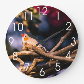 Cute Zebra Finch On Twigs Clocks