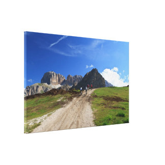 cycling on Dolomites Canvas Prints