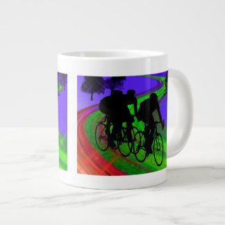 Cycling Trio on Ribbon Road Jumbo Mug