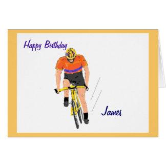 Cyclist Racing birthday card. Change name. Greeting Card