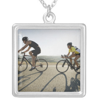 Cyclists road riding in Malibu Square Pendant Necklace