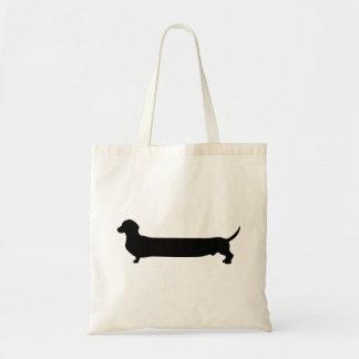 Dachshund dog black silhouette funny long back budget tote bag