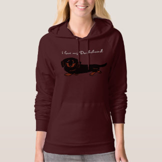 Dachshund Long Haired Black and Tan Hooded Pullover