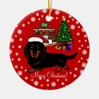 Dachshund Long Haired Black and Tan Round Ceramic Decoration