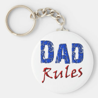 Dad Rules Basic Round Button Key Ring