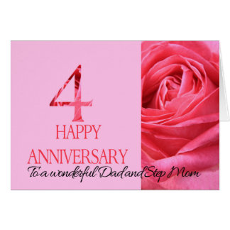 Dad & Step Mom Anniversary Card Pink Rose