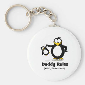 Daddy Rules Penguin Basic Round Button Key Ring