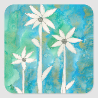 Dainty Daisies I Square Sticker