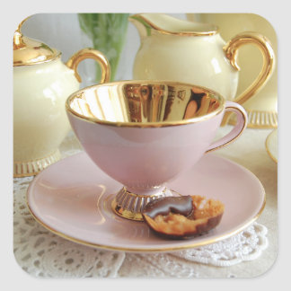 Dainty Pink and Gold Coffee Cup Stickers
