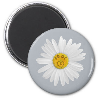 Daisy Flower For Aunt Art Customize Background 6 Cm Round Magnet