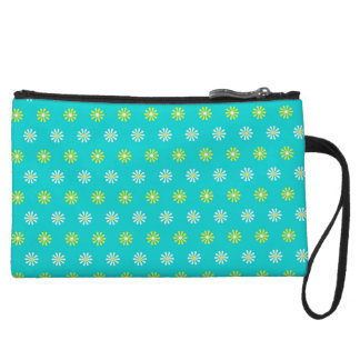 Daisy Flower Pattern Mini Clutch Wristlet Clutches
