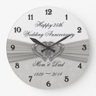 Damask 25th Wedding Anniversary Wall Clock