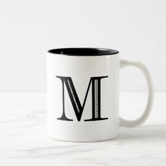 Damask Letter M - Black Two-Tone Mug